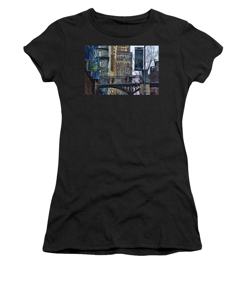 Nyc Women's T-Shirt (Athletic Fit) featuring the photograph Nyc Crossings Daily Life Children by Chuck Kuhn