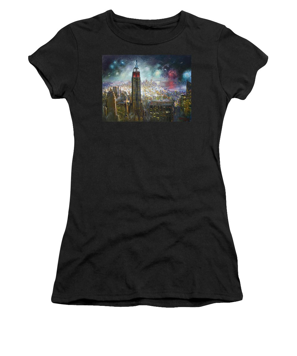 Landscape Women's T-Shirt (Athletic Fit) featuring the painting Nyc. Empire State Building by Ylli Haruni