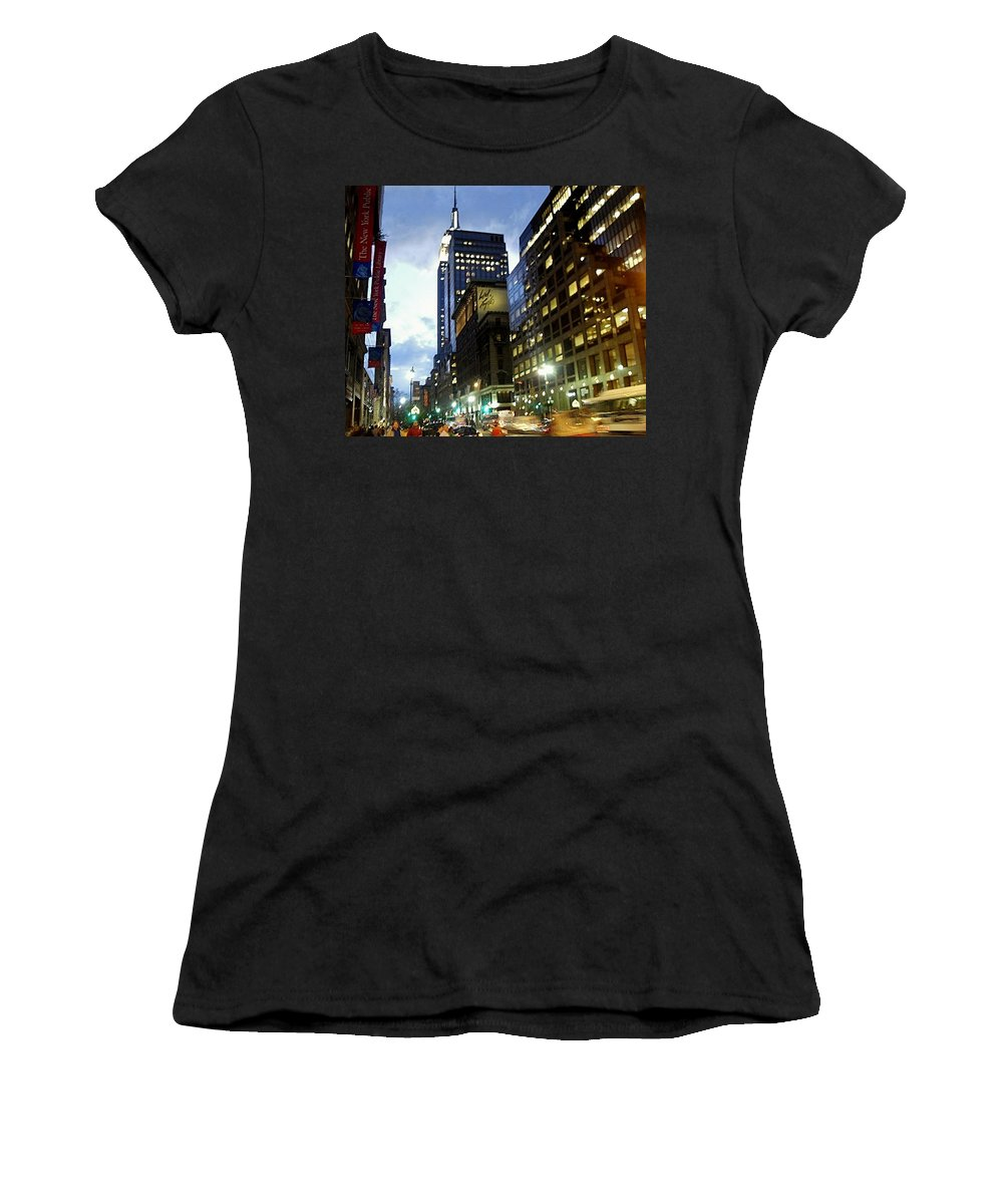Cityscape Women's T-Shirt featuring the photograph Nyc Fifth Ave by Vannetta Ferguson