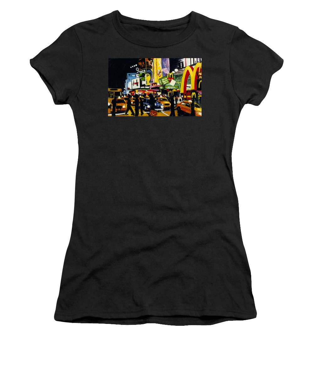 New York Women's T-Shirt (Athletic Fit) featuring the painting Nyc II The Temple Of M by Robert Reeves