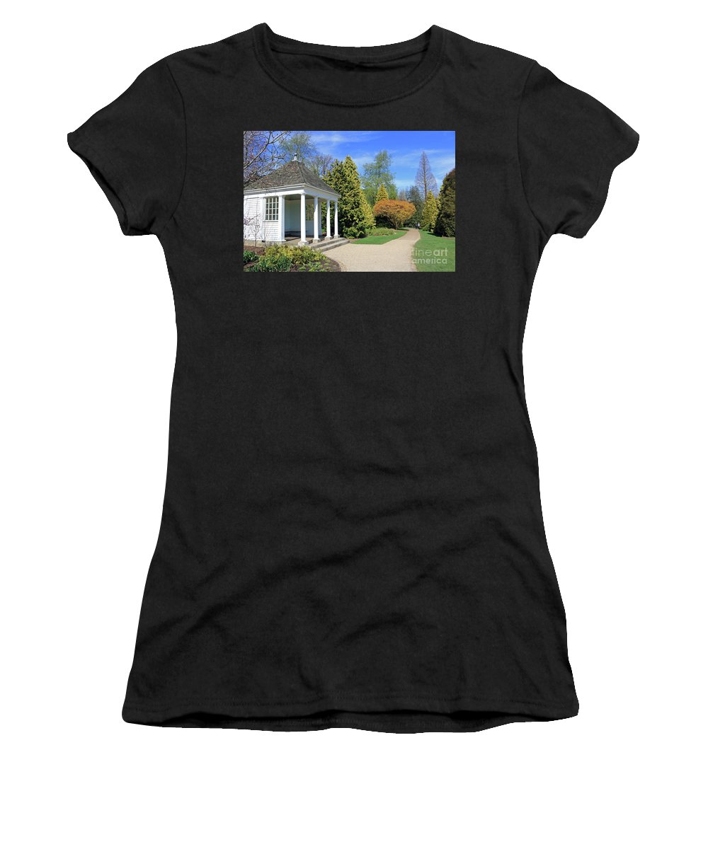 Nymans English Country Garden Women's T-Shirt (Athletic Fit) featuring the photograph Nymans English Country Garden by Julia Gavin
