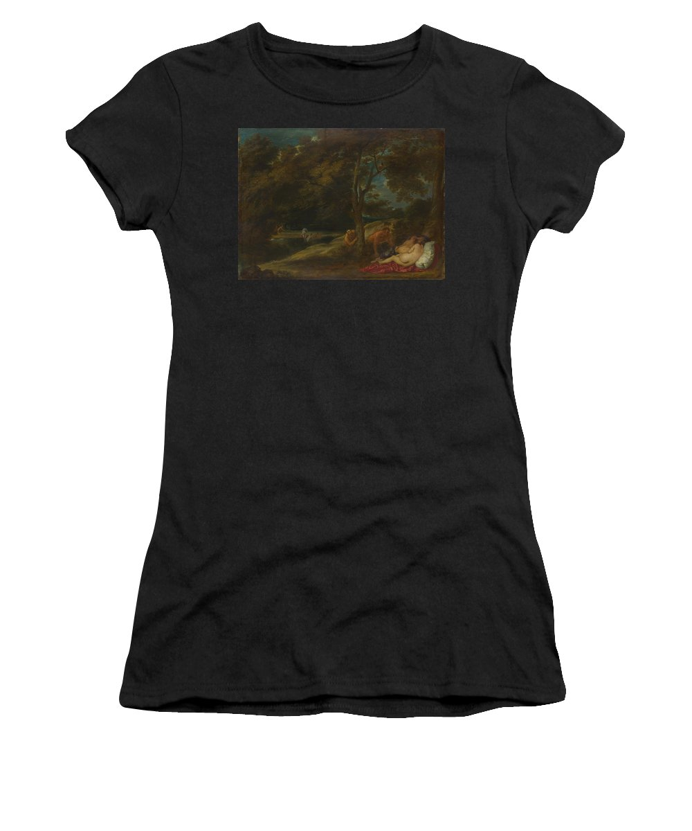 Franchoys Women's T-Shirt (Athletic Fit) featuring the digital art Nymphs Surprised By Satyrs by PixBreak Art