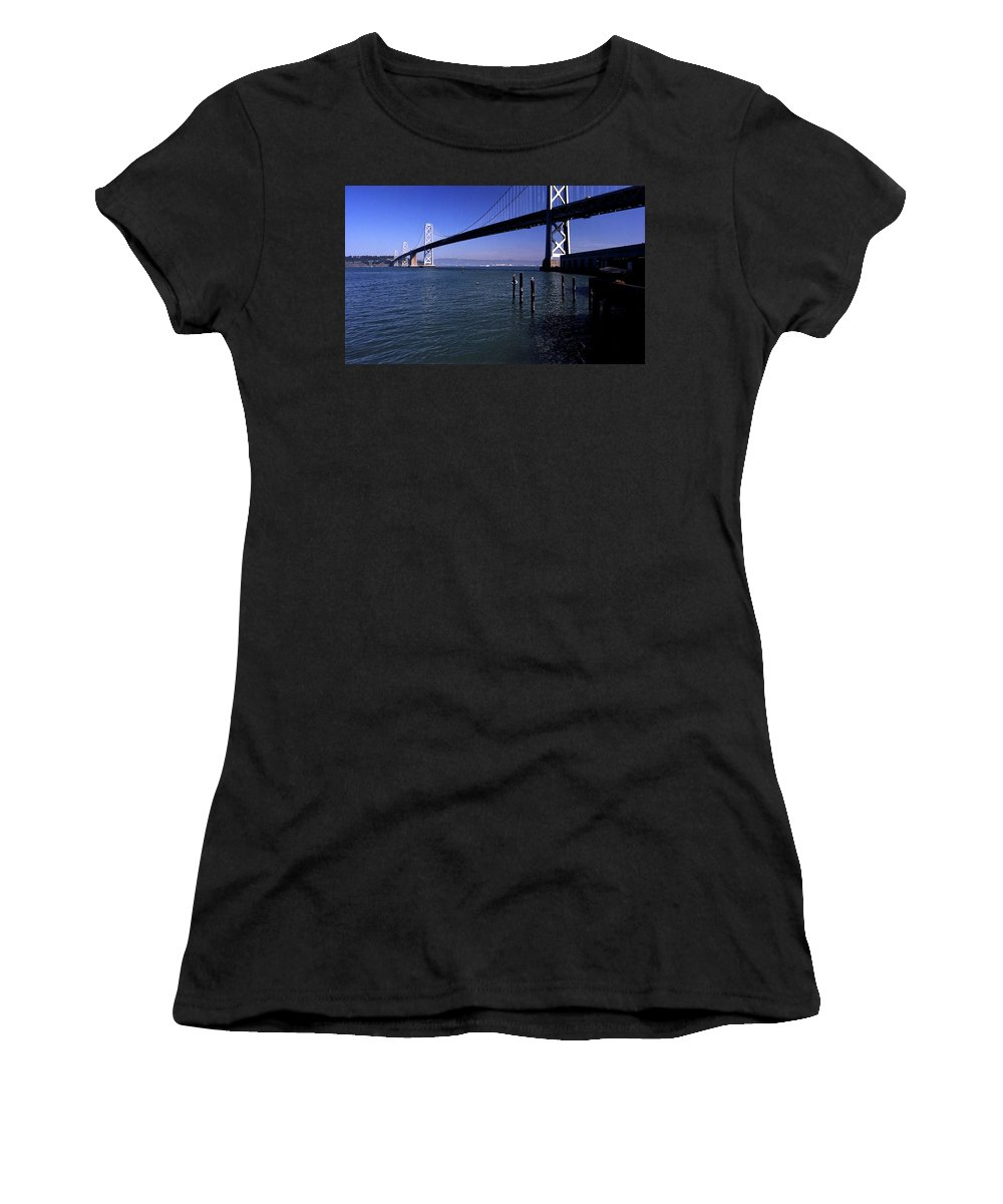 San Francisco Women's T-Shirt (Athletic Fit) featuring the photograph Oakland Bay Bridge 1985 by Lee Santa