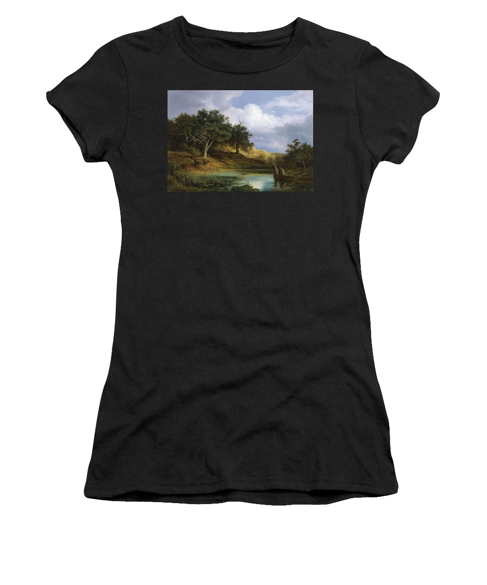 Nature Women's T-Shirt (Athletic Fit) featuring the painting Oaks Beside The Water 1832 by Artistic Rifki