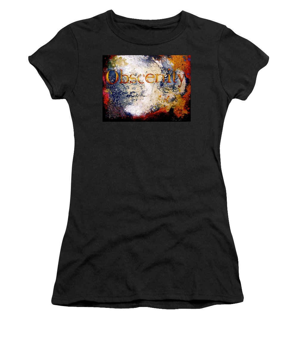 Abstract Art Women's T-Shirt featuring the painting Obscenity by Laura Pierre-Louis