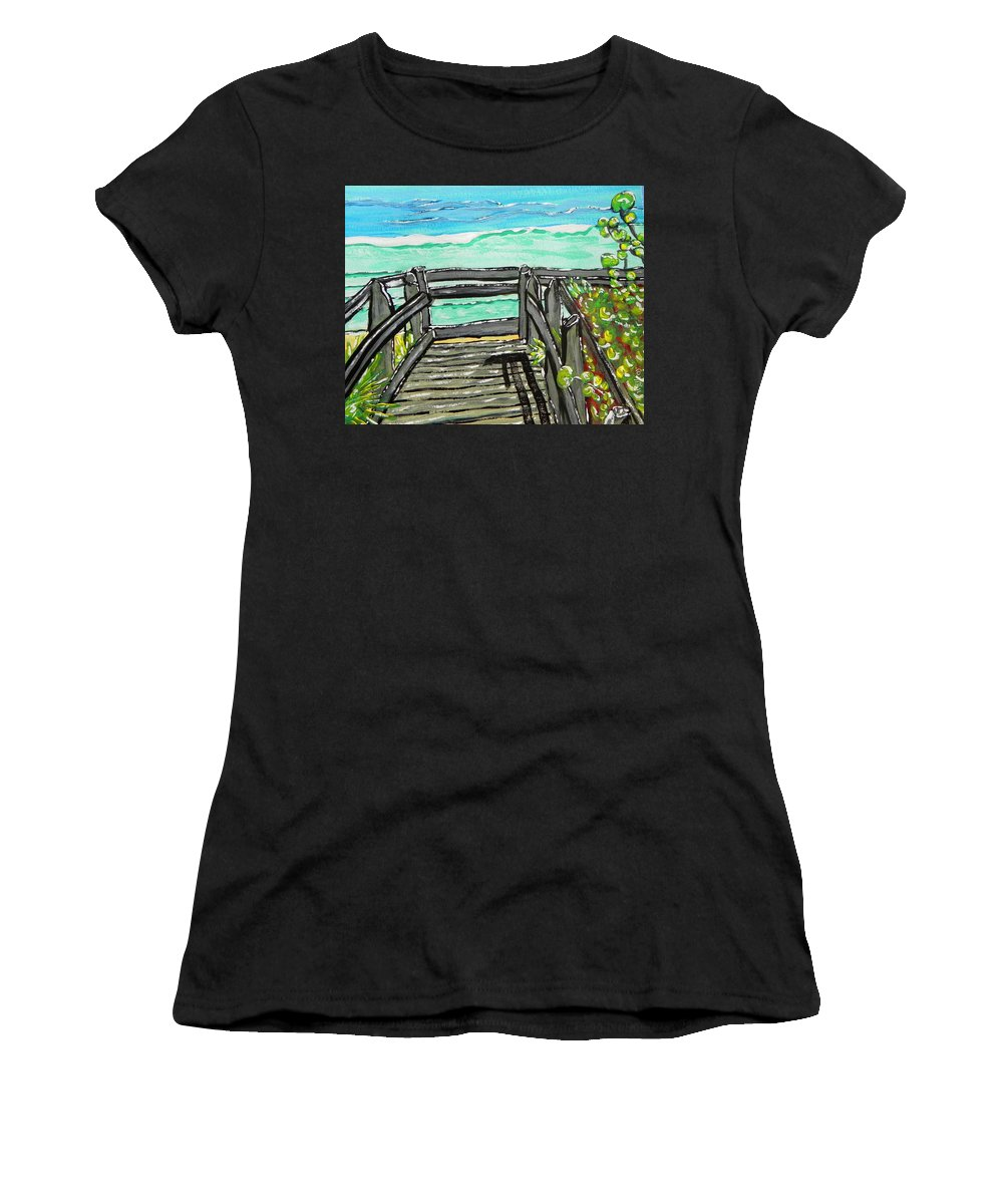 Wgilroy Women's T-Shirt featuring the painting ocean / Beach crossover by W Gilroy