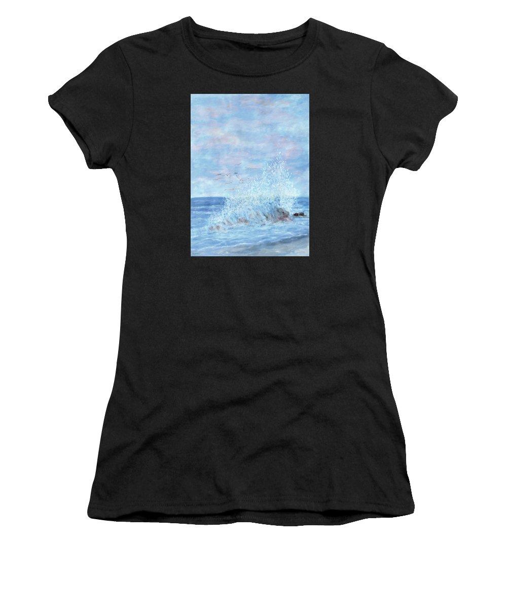 Gulls Women's T-Shirt featuring the painting Ocean Spray by Ben Kiger