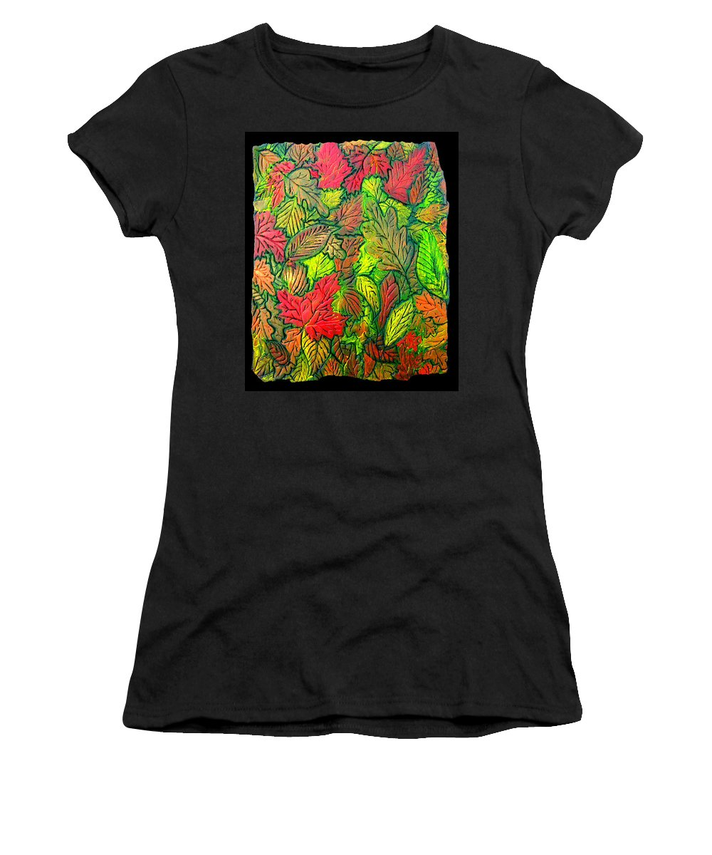 Leaves Women's T-Shirt (Athletic Fit) featuring the painting October 21st. by Wayne Potrafka