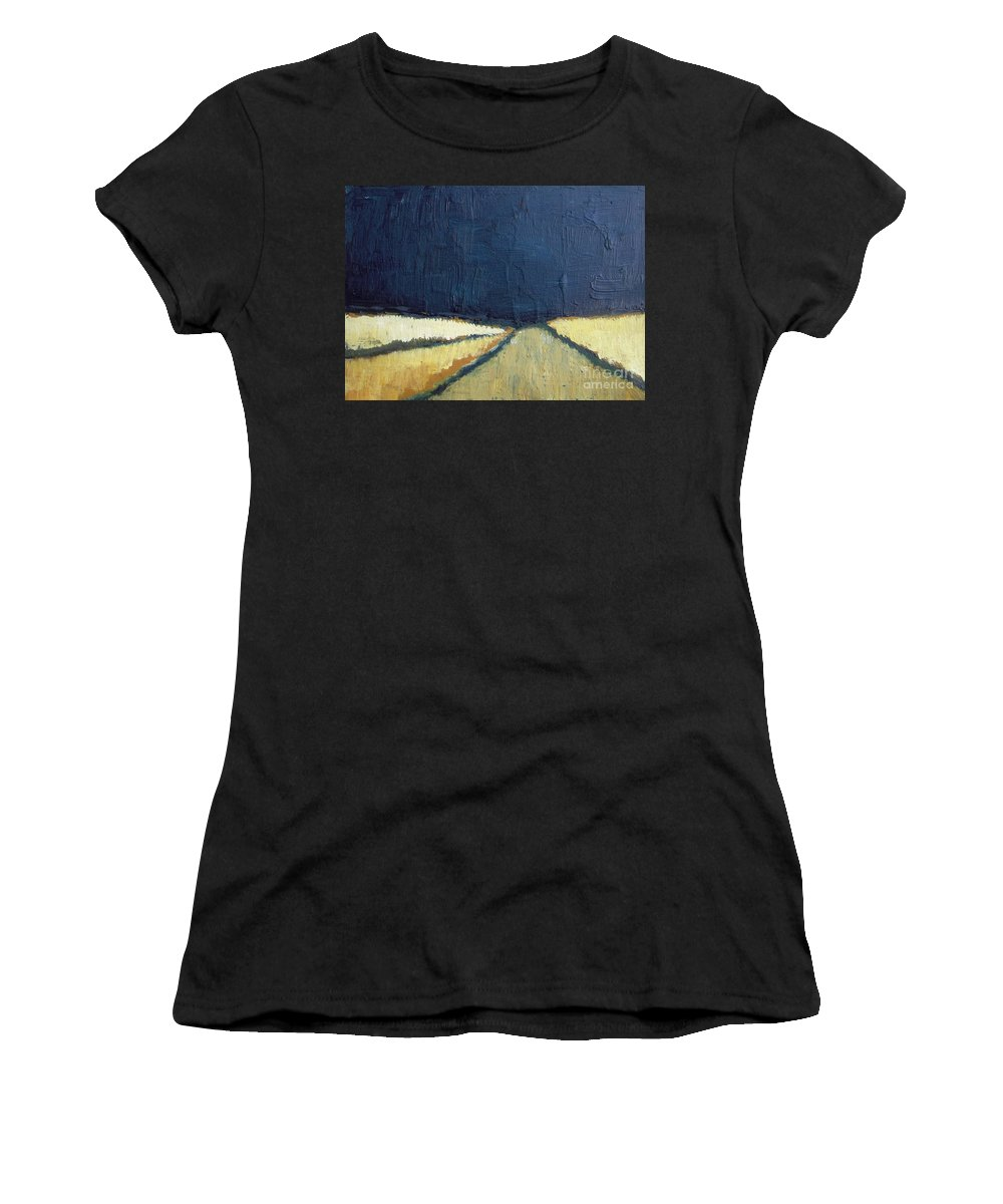 Abstract Women's T-Shirt (Athletic Fit) featuring the painting October Night Fields by Vesna Antic