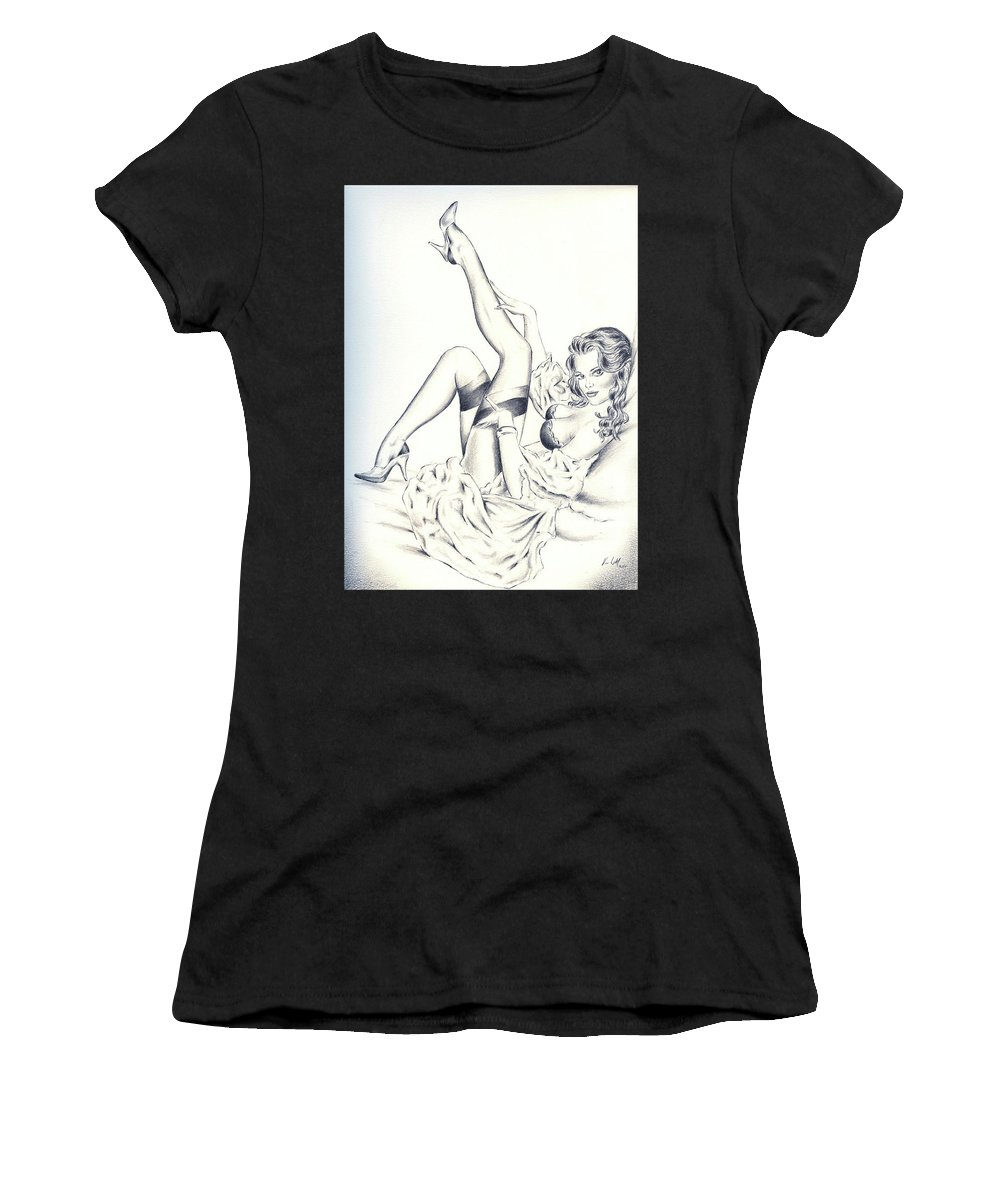 Pinup Women's T-Shirt (Athletic Fit) featuring the drawing Ode To Elvgren by Vincent Wolff