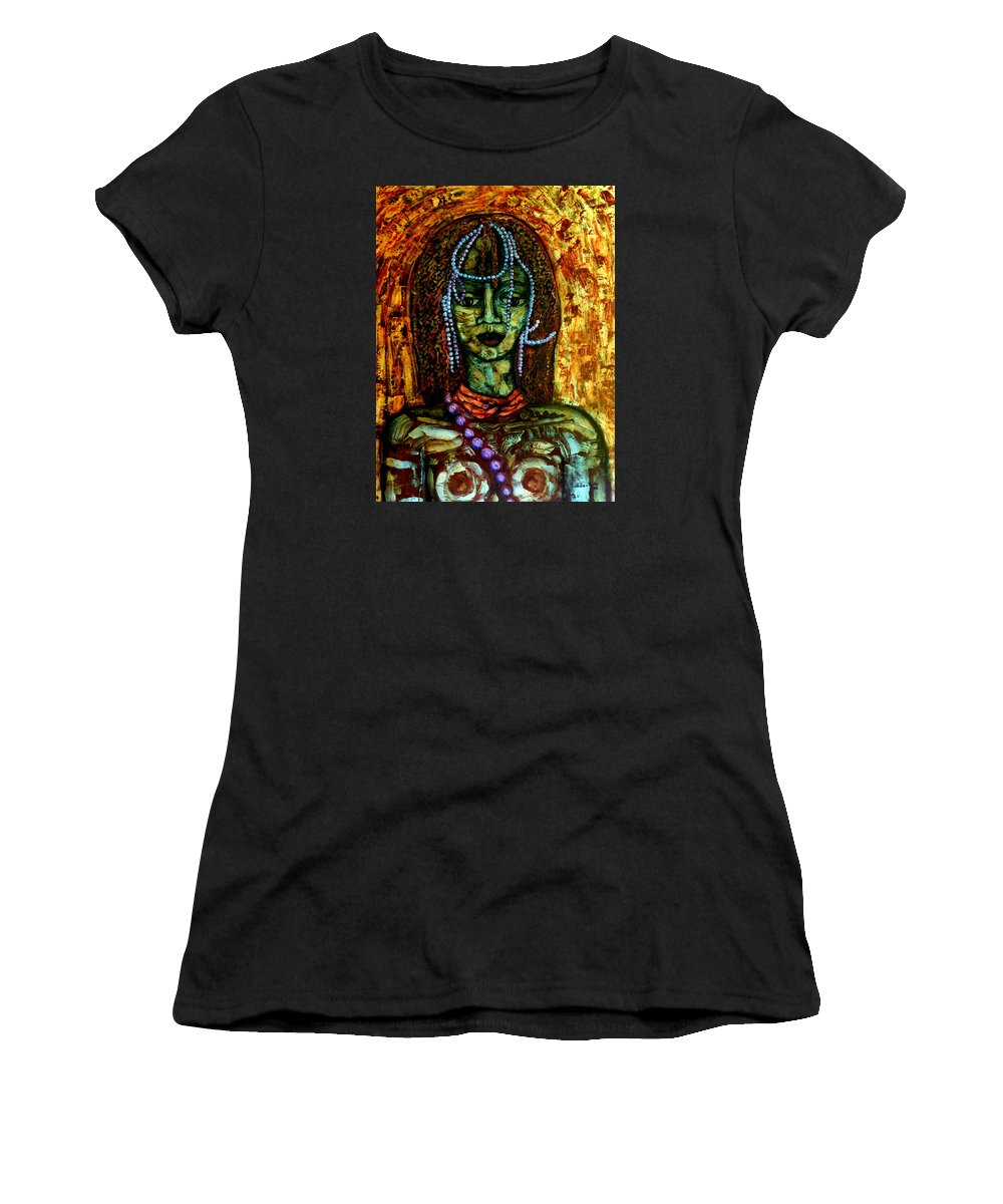 Memories Women's T-Shirt (Athletic Fit) featuring the painting Of Another Childhood I Keep Memories by Madalena Lobao-Tello