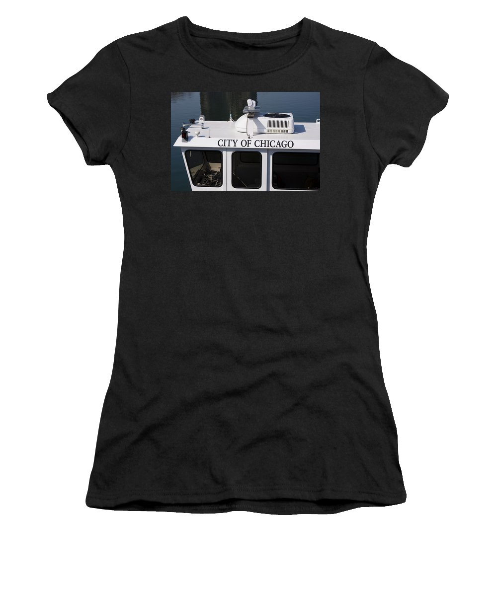 Chicago Windy City Police Boat Lake Michigan Water White Women's T-Shirt (Athletic Fit) featuring the photograph Off Duty by Andrei Shliakhau