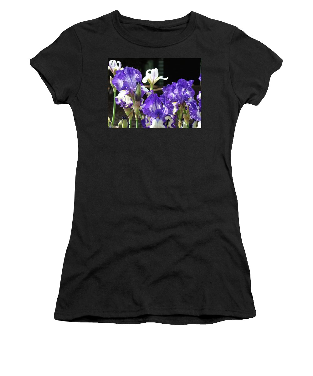 Iris Women's T-Shirt (Athletic Fit) featuring the photograph Office Art Prints Iris Flower Botanical Landscape 30 Giclee Prints Baslee Troutman by Baslee Troutman