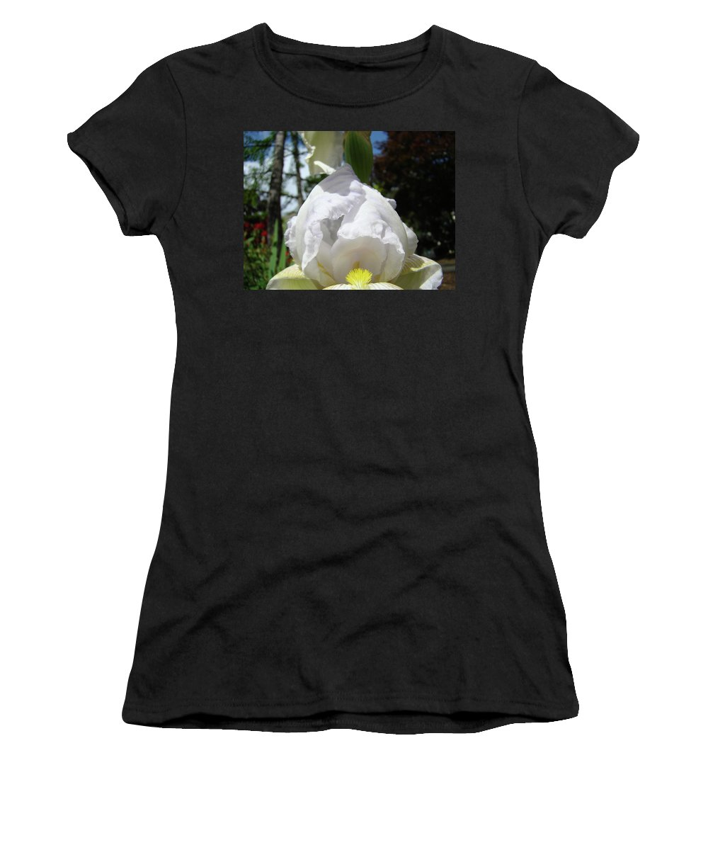 Iris Women's T-Shirt (Athletic Fit) featuring the photograph Office Art Prints Iris Flowers White Yellow Irises Baslee Troutman by Baslee Troutman