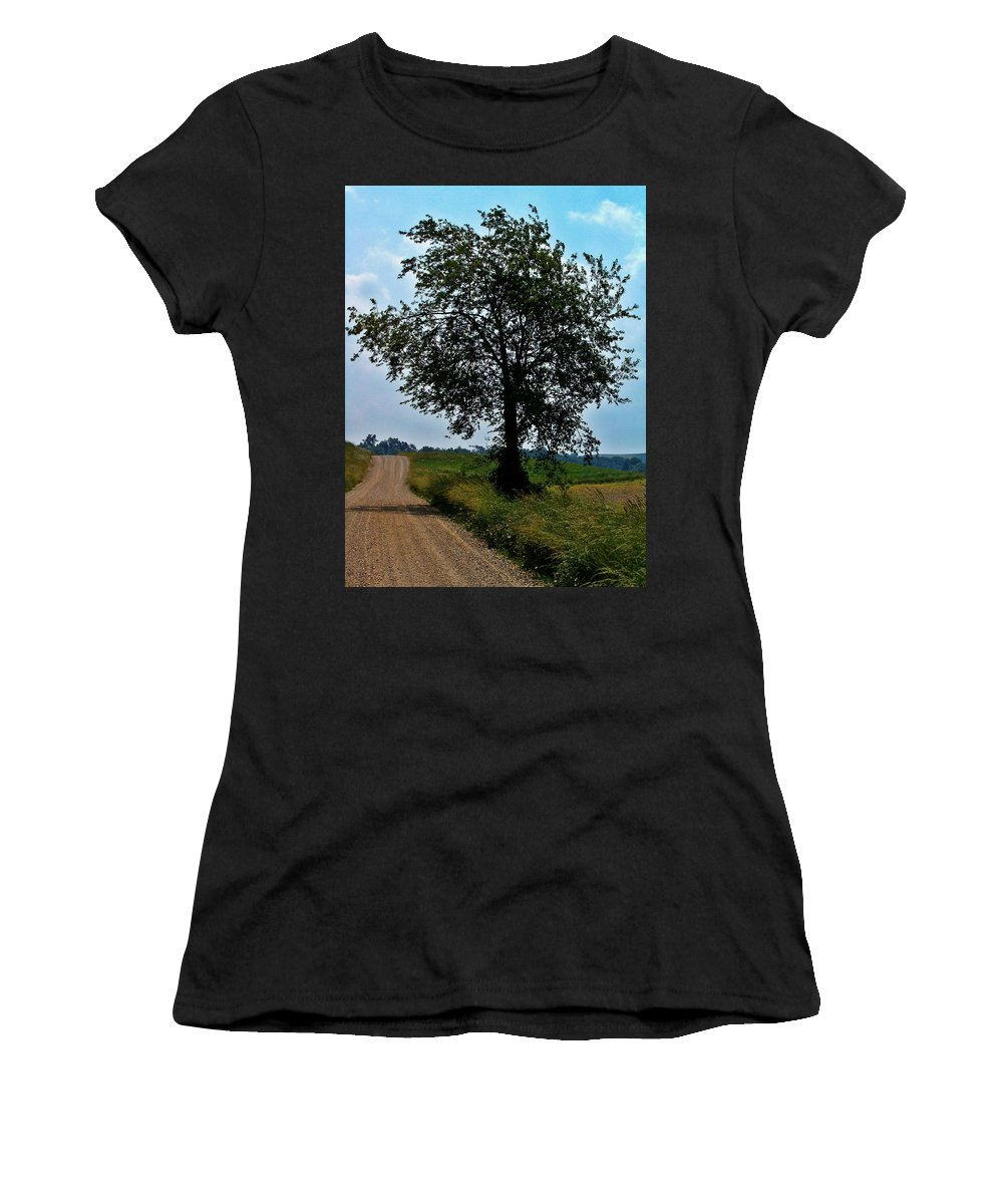 Ohio Women's T-Shirt (Athletic Fit) featuring the photograph Ohio Back Roads by Sara Raber