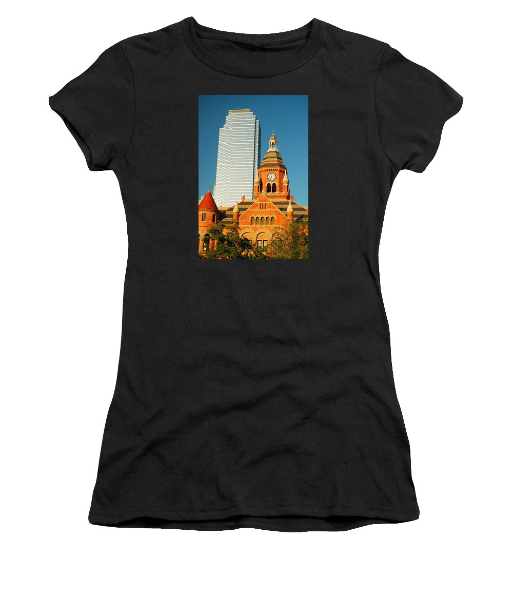 Dallas Women's T-Shirt (Athletic Fit) featuring the photograph Old And New In Dallas by James Kirkikis