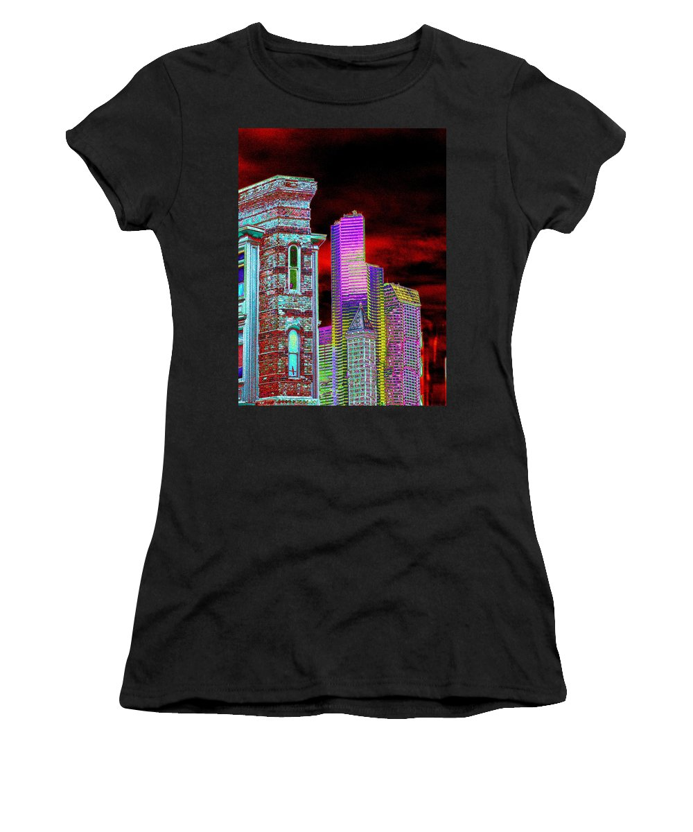 Seattle Women's T-Shirt (Athletic Fit) featuring the digital art Old And New Seattle by Tim Allen