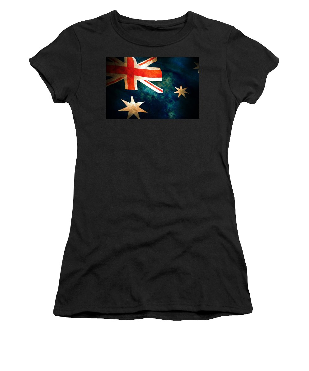Australia Women's T-Shirt (Athletic Fit) featuring the photograph Old Australian Flag by Phill Petrovic