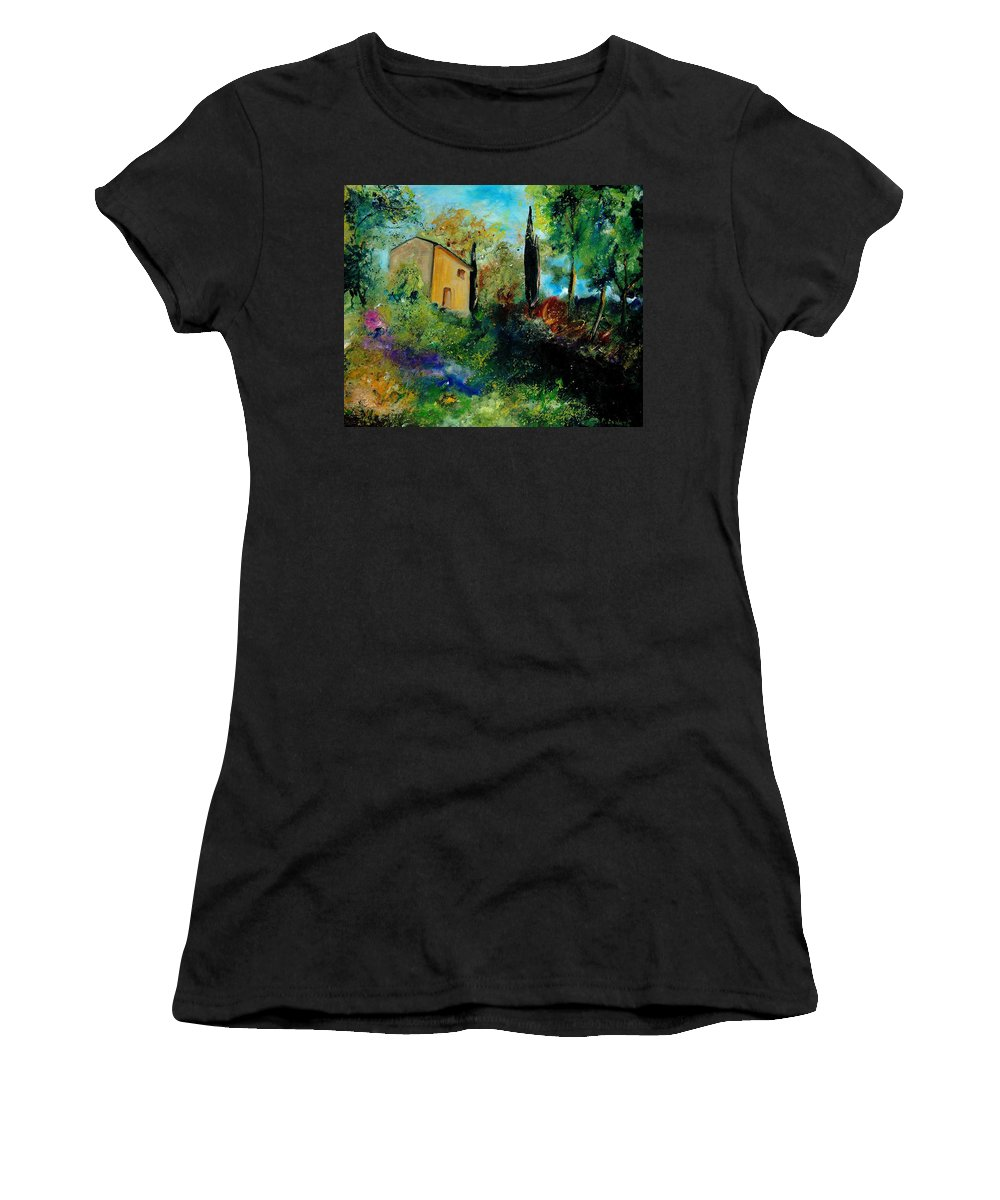 Provence Women's T-Shirt (Athletic Fit) featuring the painting Old Barn In Provence by Pol Ledent