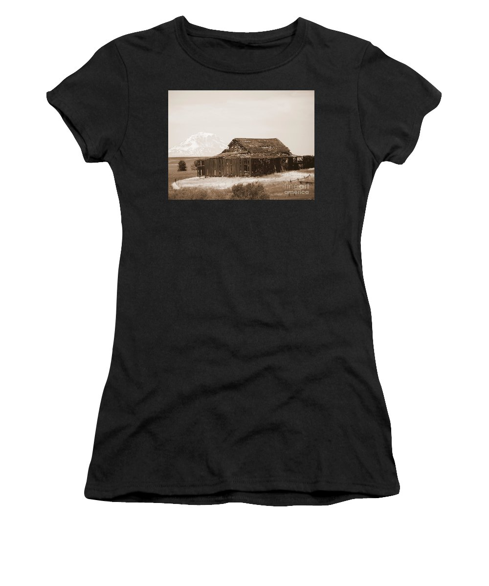 Barn Women's T-Shirt featuring the photograph Old Barn With Mount Adams In Sepia by Carol Groenen