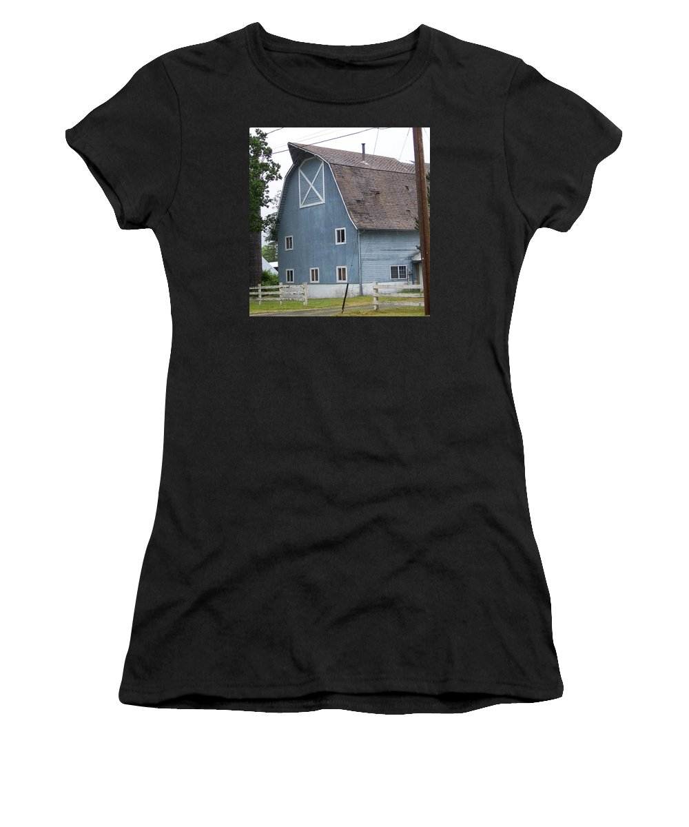 Old Women's T-Shirt (Athletic Fit) featuring the photograph Old Blue Barn Littlerock Washington by Laurie Kidd