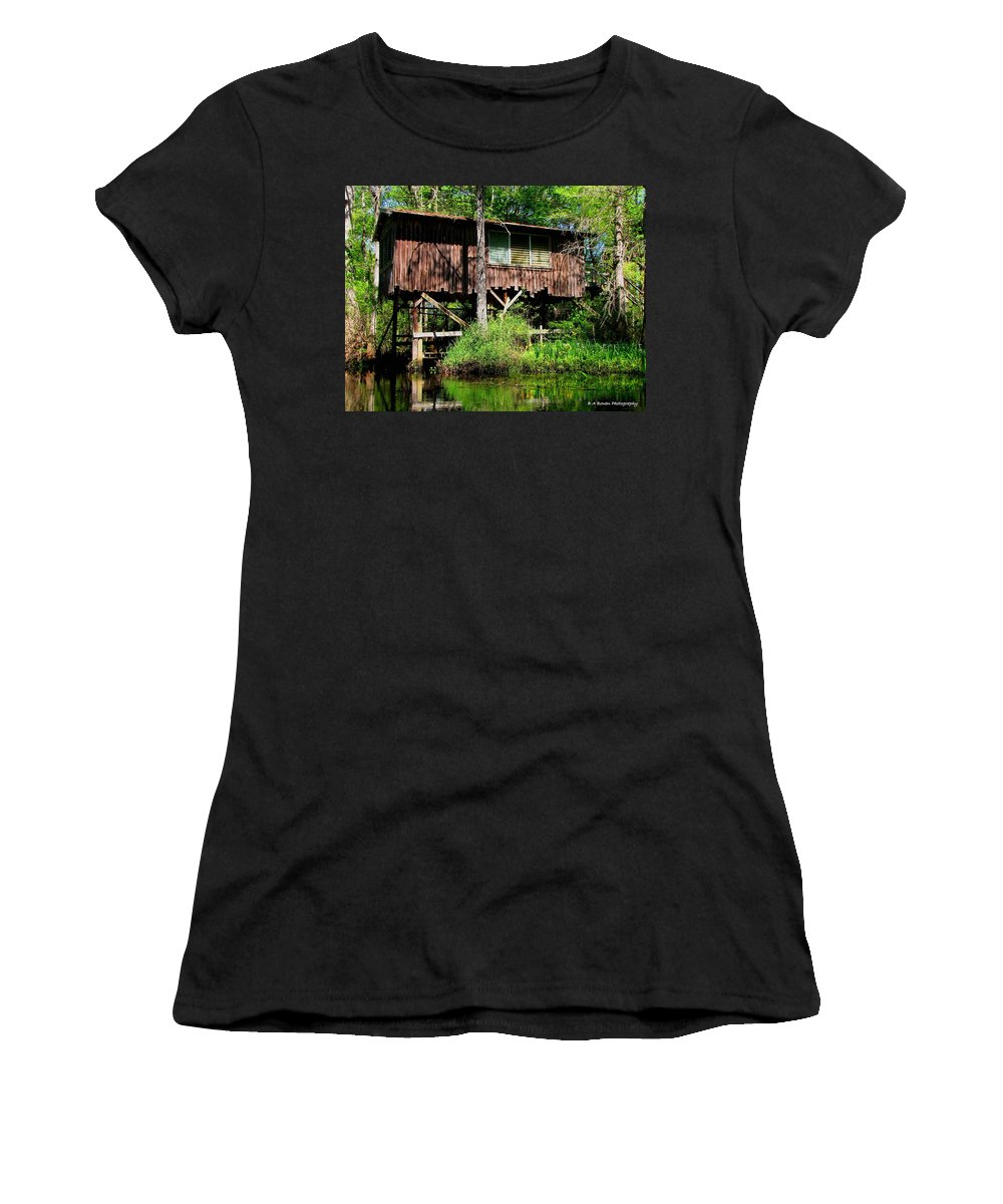 Old Boat House Women's T-Shirt (Athletic Fit) featuring the photograph Old Boat House by Barbara Bowen