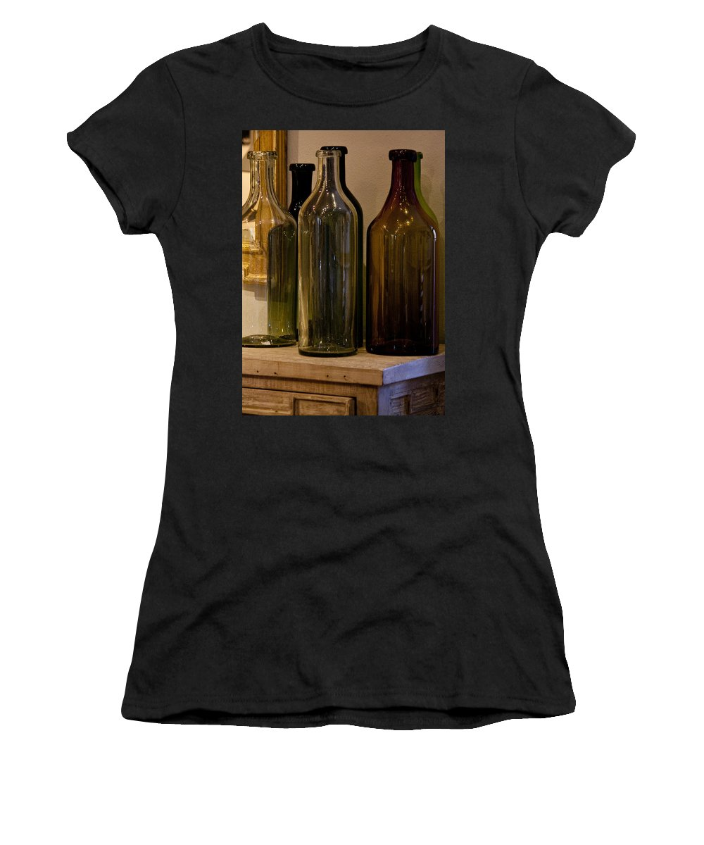 Bottles Women's T-Shirt (Athletic Fit) featuring the photograph Old Bottles by Donna Walsh