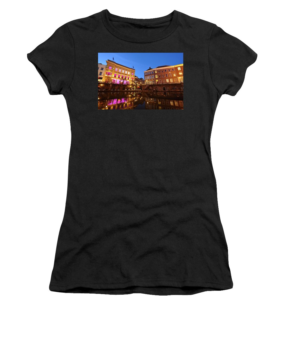 Old Canal Women's T-Shirt (Athletic Fit) featuring the photograph Old Canal In Utrecht In The Evening 4 by Merijn Van der Vliet
