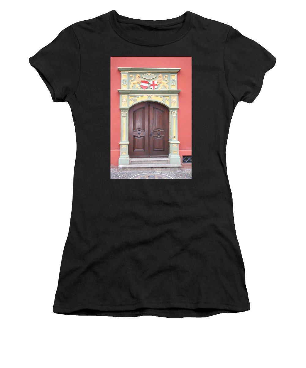 Door Women's T-Shirt (Athletic Fit) featuring the photograph Old Door And Emblem by Christiane Schulze Art And Photography