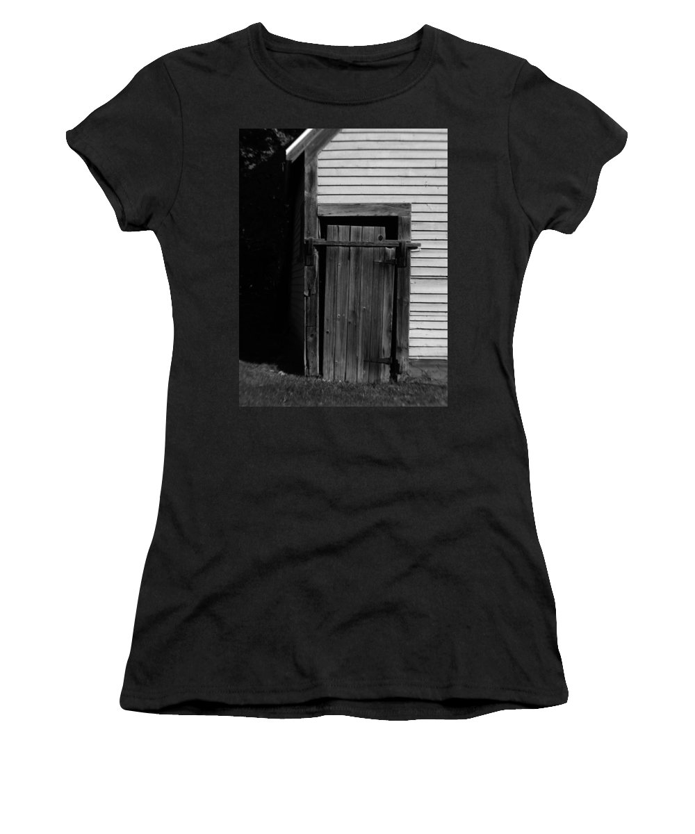 Old Door Women's T-Shirt (Athletic Fit) featuring the photograph Old Door by Michael Mooney