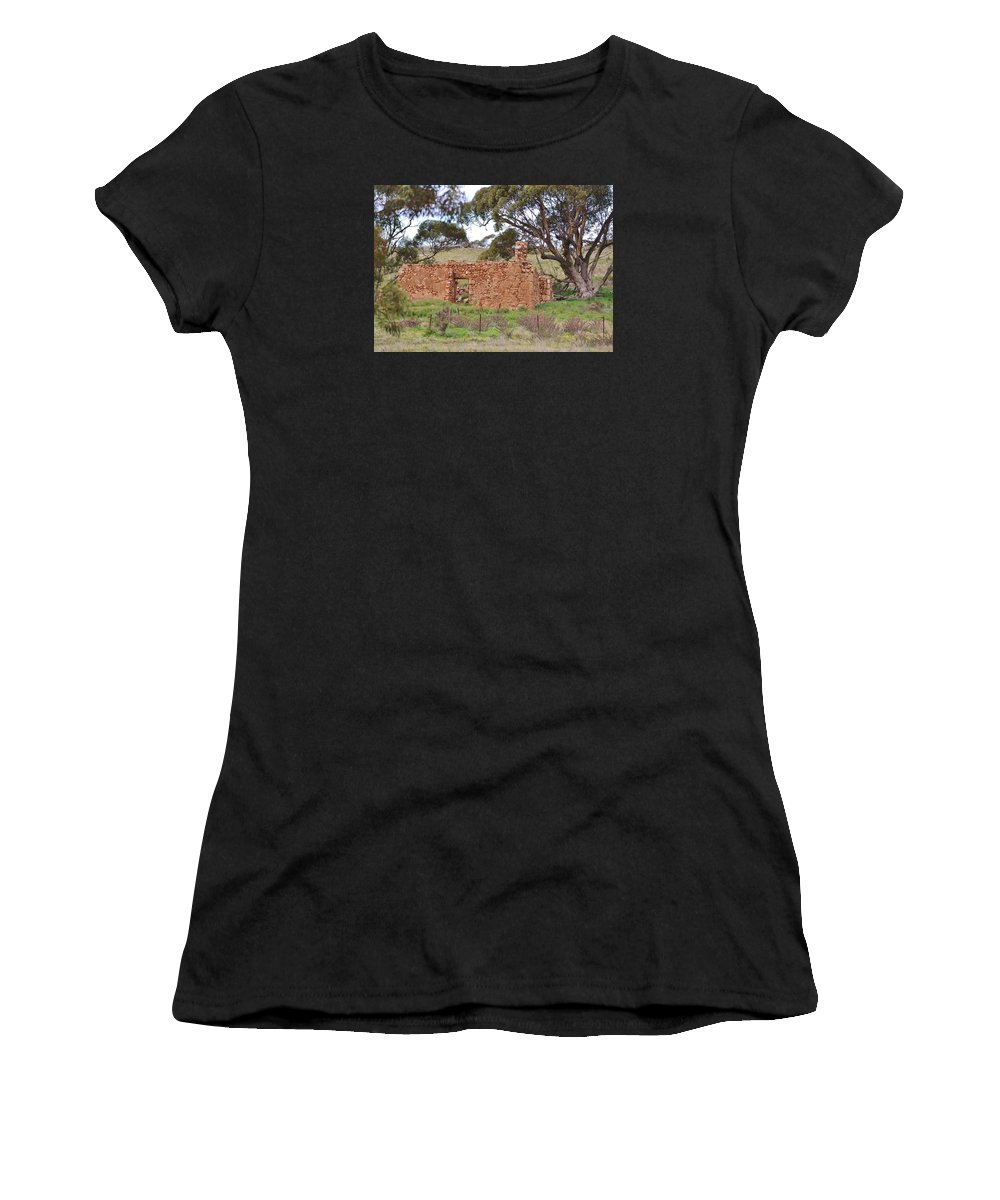 Old Farm House Women's T-Shirt (Athletic Fit) featuring the photograph Old Farm House Ruin by Denise Walding