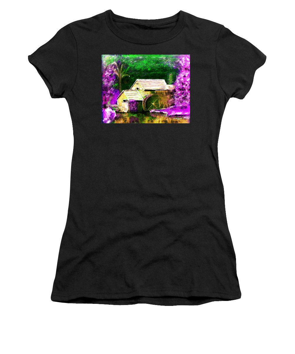 Landscape Women's T-Shirt (Athletic Fit) featuring the digital art Old Mill by Melvin Moon