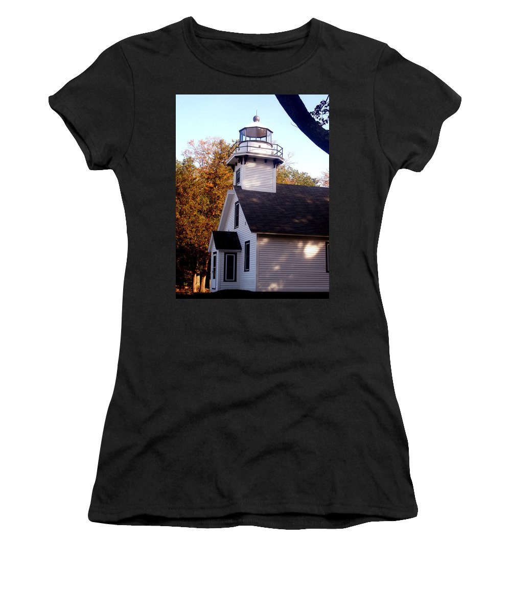 Lighthouse Women's T-Shirt (Athletic Fit) featuring the painting Old Mission Point Light House by Wayne Potrafka