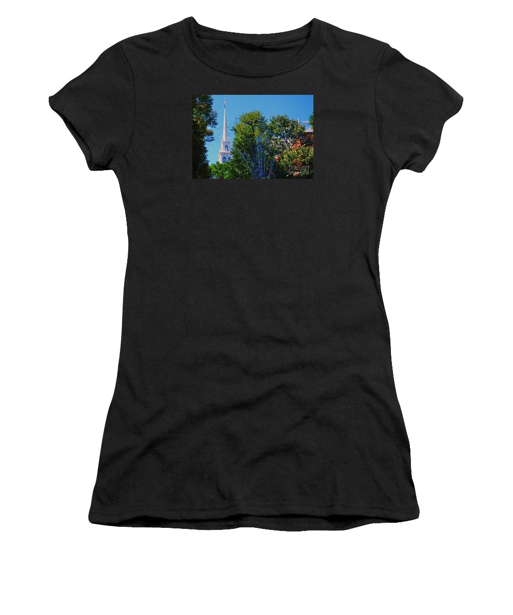 Boston Art Landmark Historic Church Trees Fountain North End Landmark Outdoors Travel American History Birds In Flight Urban New England Famous Spire Summer Arches Wood Print Metal Frame Poster Print Canvas Print Available On Duvet Covers Throw Pillows Tote Bags Phone Cases T Shirts Pouches Weekender Tote Bags Mugs And Shower Curtains Women's T-Shirt featuring the photograph Old North Church, Boston # 3 by Marcus Dagan