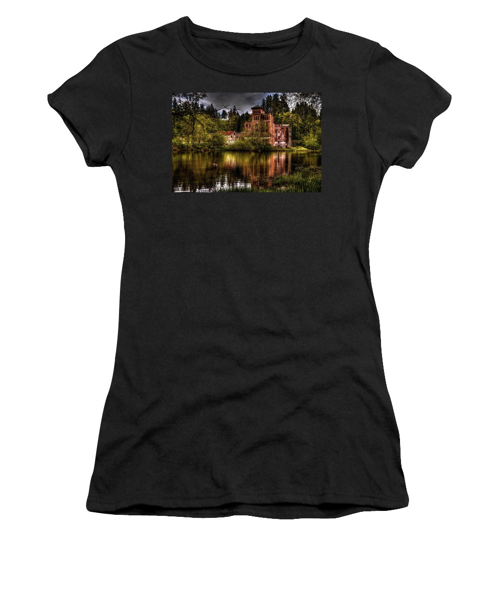 Landscape Women's T-Shirt (Athletic Fit) featuring the photograph Old Olympia Brewery by James Farrell