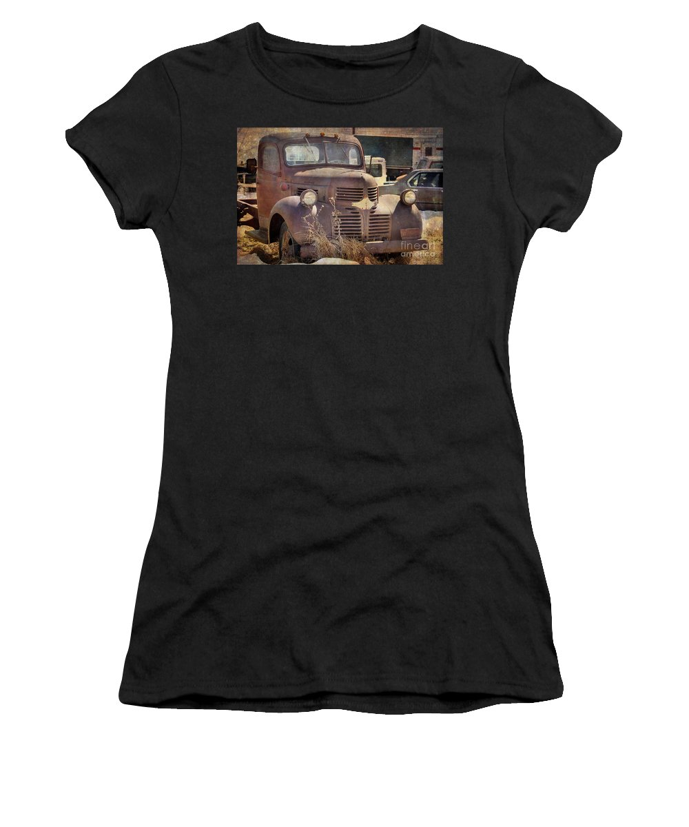 Old Women's T-Shirt (Athletic Fit) featuring the photograph Old Red Dodge Truck by Janice Pariza