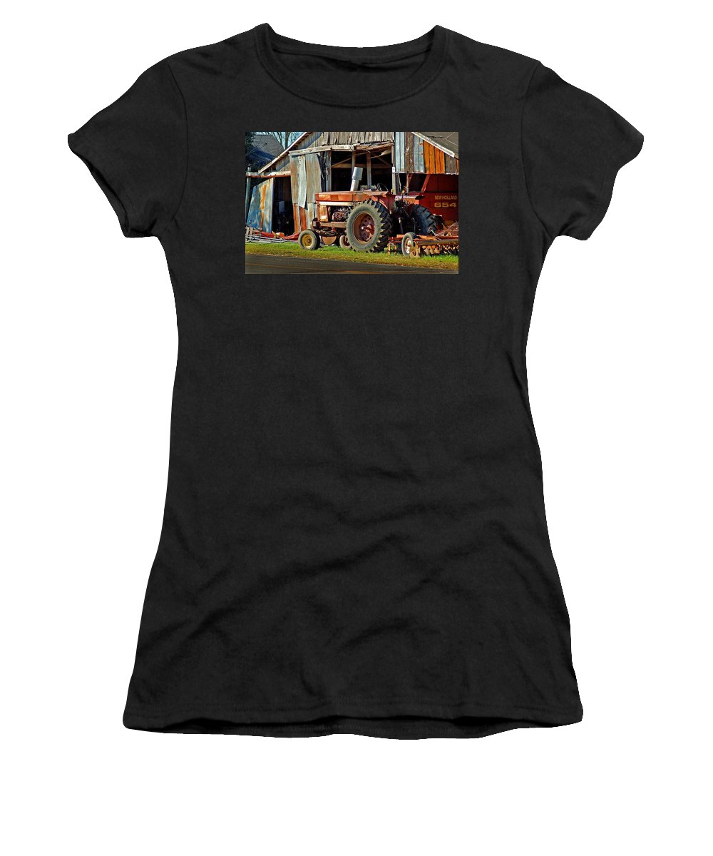 Tractors Women's T-Shirt (Athletic Fit) featuring the painting Old Red Tractor And The Barn by Michael Thomas