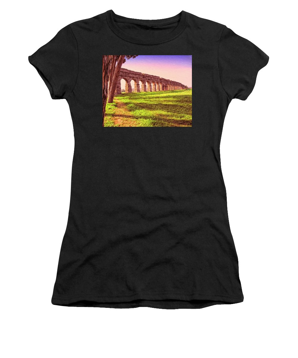 Roman Aqueduct Women's T-Shirt (Athletic Fit) featuring the painting Old Roman Aqueduct by Dominic Piperata
