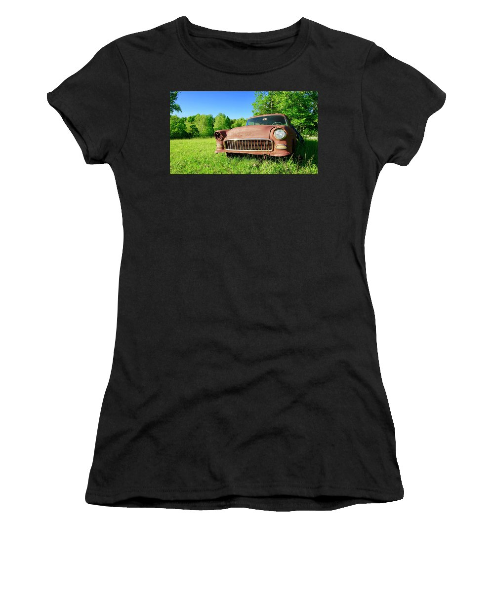 Old Cars Women's T-Shirt featuring the photograph Old Rusty Car by The James Roney Collection