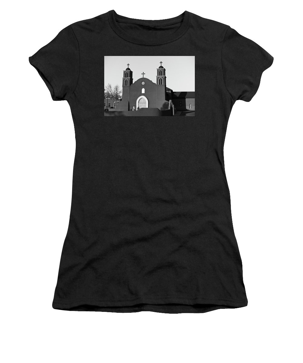 Old Women's T-Shirt featuring the photograph Old San Miguel Mission, Socorro, New Mexico, March 12, 2017 by Mark Goebel