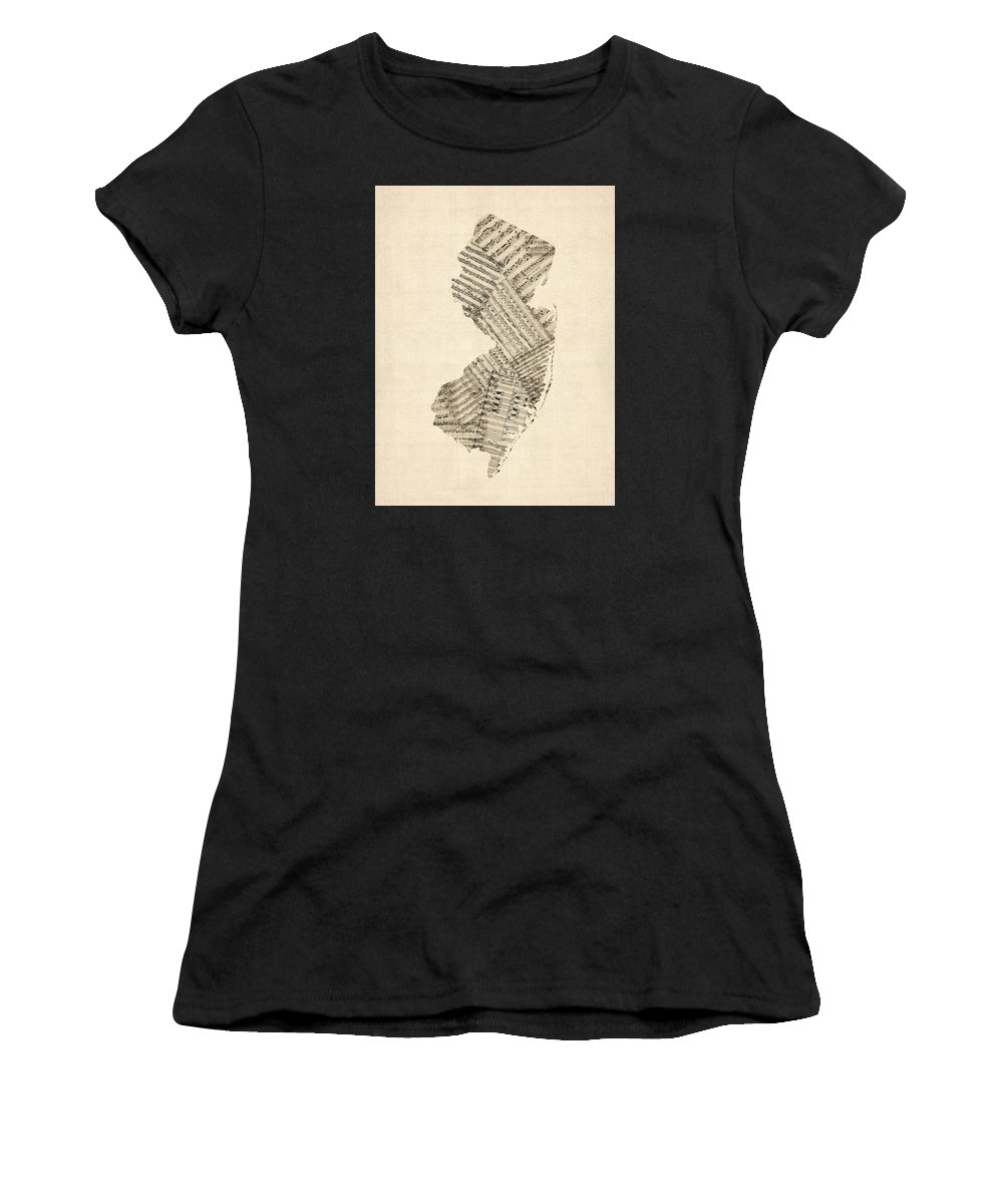 New Jersey Women's T-Shirt (Athletic Fit) featuring the digital art Old Sheet Music Map Of New Jersey by Michael Tompsett