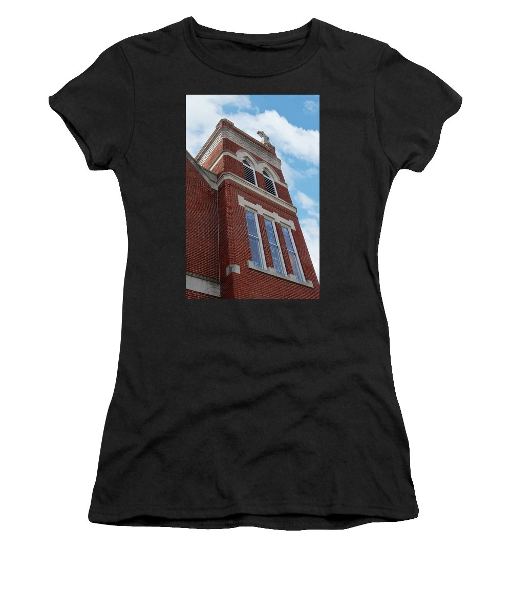 Church Women's T-Shirt (Athletic Fit) featuring the photograph Old St Pete Steeple by Nancy Aurand-Humpf