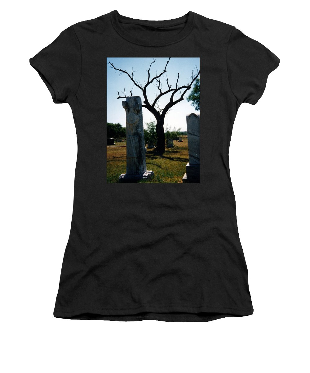Stones Trees Old Headstones Women's T-Shirt (Athletic Fit) featuring the photograph Old Stones In Old Cementery by Cindy New