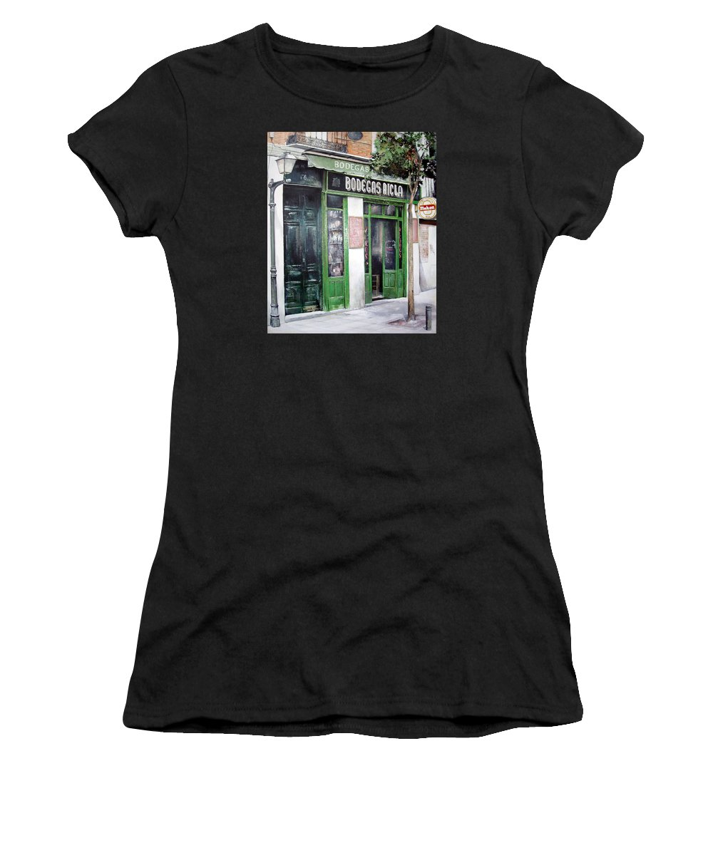 Bodegas Women's T-Shirt (Athletic Fit) featuring the painting Old Tavern-madrid by Tomas Castano