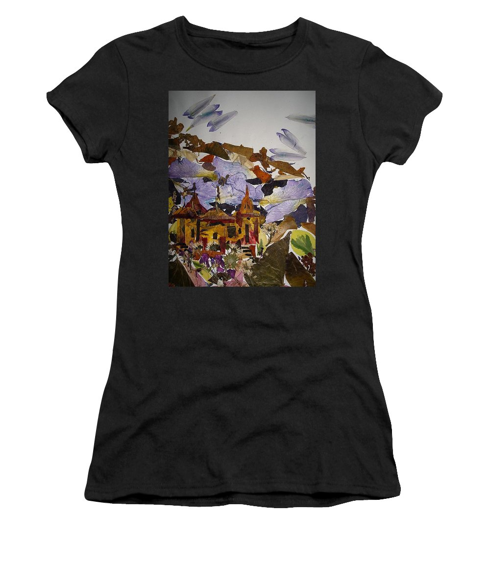 Religious Spot Women's T-Shirt (Athletic Fit) featuring the mixed media Old Temples by Basant Soni