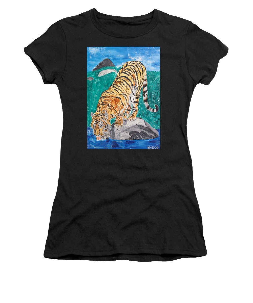 Cat Women's T-Shirt (Athletic Fit) featuring the painting Old Tiger Drinking by Valerie Ornstein