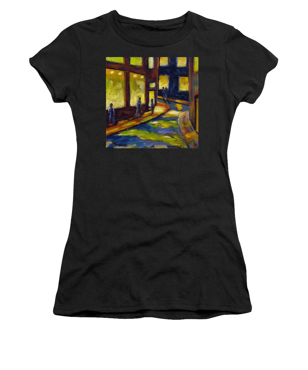 Urban; Scene; People; Night; Street; City; Scape; Love; Women's T-Shirt featuring the painting Old Town At Night by Richard T Pranke
