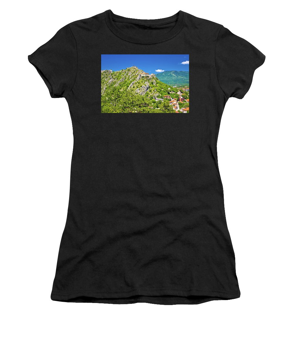 Knin Women's T-Shirt (Athletic Fit) featuring the photograph Old Town Knin On The Rock View by Brch Photography