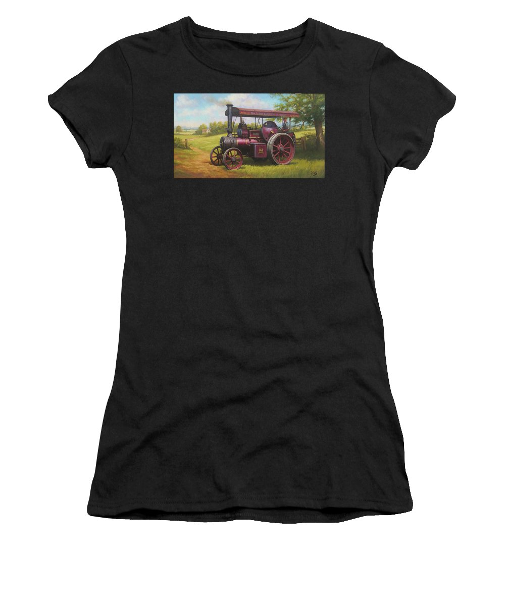 Steam Women's T-Shirt (Athletic Fit) featuring the painting Old Traction Engine. by Mike Jeffries
