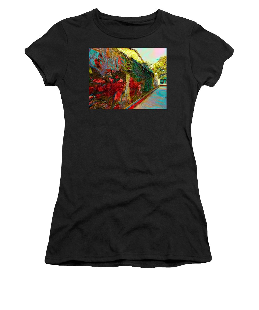 Buildings Women's T-Shirt (Athletic Fit) featuring the digital art Old Wall Of The Ancient City by Evgeny Parushin
